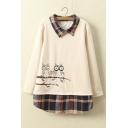 New Owl Printed Plaid Lapel and Hem False Two-Piece Pullover Sweatshirt