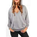 Women's Fashion V-Neck Casual Plain Basic Sexy Hoodie