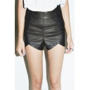 Women's Faux Leather High Waist Style Side Zip Club Sexy Shorts