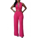 Women's Jumpsuits Elegant Button Loose Long Wide Leg Jumpsuits Romper