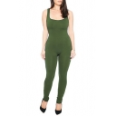 Women's Scoop Neck Sleeveless Stretch One Piece Jumpsuits Unitard Bodysuits