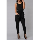 Women's Sleeveless Blouson Hollow Back Ruched Jumpsuits