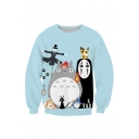 Lovely 3D Cartoon Printed Round Neck Pullover Sweatshirt