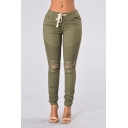 Women's Fashion Distressed Drawstring Waist Skinny Plain Pants