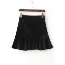 Chic Zip-Side Plain Velvet A-Line Mini Skirt