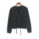 Sexy Drawstring V-Neck Long Sleeve Plain Pullover Sweatshirt