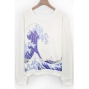 Women's Fashion Wave Printed Round Neck Pullover Sweatshirt
