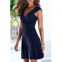 Women's Fashion V-Neck Cap Sleeve Plain A-Line Midi Dress