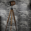 Retro Style 1 Light Adjustable Tripod Indoor Lighting Floor Lamp with Brown Shade