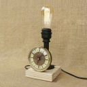 Clock Accent One Edison Bare Bulb Style Wood Base Industrial Table Lamp