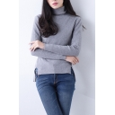 Women's Rib Knit Turtle Neck Long Sleeve High Low Hem Split Sides Tops