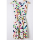 Women's Round Neck Sleeveless Feather Print Tank Mini Dress
