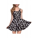Summer Pleated Digital Print Reversible Skater Dress