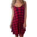 Sexy Spaghetti Straps Open Back Plaid Color block Mini Cami Dress