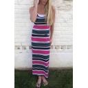 Sexy Striped Color Block Sleeveless Tank Maxi Dress