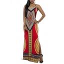 Women's Hot Bodycon Evening Party Dress Geometric Print Full Length Dresses