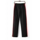Women's Contrast Striped Side Elastic Waist Wide Leg Pants