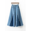 New Stylish Contrast Patchwork Rough Hem Mid Rise Zipper Front Wide Leg Jeans