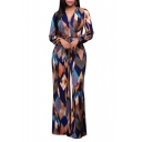 Women's Long Sleeve Plunge Wide Leg Long Jumpsuits Rompers
