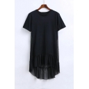Plain Mesh Patchwork Round Neck Short Sleeve High Low Hem Asymmetric T-Shirt Dress