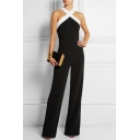 Women's Halter Neck Criss Cross Wide Leg Long Pants Jumpsuits Rompers