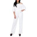 Women's Off the Shoulder Half Sleeve Versatile Jumpsuit Playsuit Romper