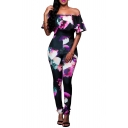 Sexy Off the Shoulder Floral Printed Short Sleeve Ruffle Front Jumpsuits