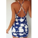 Sexy Crisscross Back Lace Halter Floral Printed Color Block Mini Cami Dress