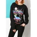Women's Colorful Graphic Printed Round Neck Long Sleeve T-Shirt