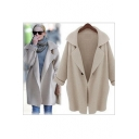 Fashion Notched Lapel Single Button Long Sleeve Plain Tunic Cardigan