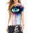 Women's Fashion Digital Eye Print Round Neck Short Sleeve Basic T-Shirt