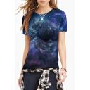 Women's Fashion Galaxy Print Round Neck Short Sleeve Basic T-Shirt