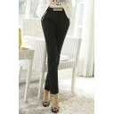 Office Lady Basic Casual Plain Midi Waist Cigarette Trousers