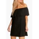 Women's Fashion Off the Shoulder Ruffle Short Sleeve Swing Mini Dress