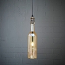 Clear/Blue/Amber/Gray Glass Bottle Shade Antique Bronze Finish Metal Pipe Bar Pendant