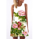 Women's Round Neck Sleeveless Floral Print  Tank Swing Mini Dress