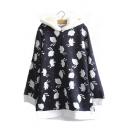 Women's Cute Rabbits Print Long Sleeve Casual Hoodie Outerwear