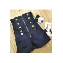 Women's Fashion Double Breasted Zip Fly High Rise Skinny Denim Shorts