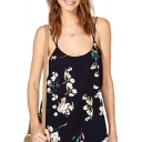 Women's Open Back Adjustable Straps Floral Print Summer Camis Top