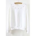 Women's Round Neck Long Sleeve Apple Embroidery Sweatshirt