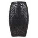 Leather Metallic High Waist Bandage Skirt