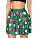 Creative Floral 3D Printed Color Block A-Line Skirt