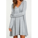 Popular V-Neck Long Sleeve Plain Mini T-Shirt Dress
