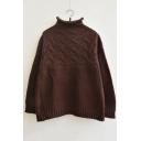 Women's Fashion Half High Neck Long Sleeve Plain Sweater