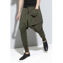 Women Winter Thick Elastic Waist Solid Harem Pants