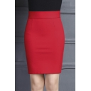 Office Lady High Rise Wear to Work Plain Mini Pencil Skirt