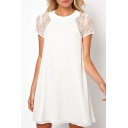 Women's Oversize Round Neck Lace Short Sleeve Chiffon Swing Mini Dress