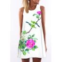 Women's Round Neck Sleeveless Digital Print Tank Top Mini Swing Dress