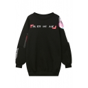 Women's Oversize Letter Print Round Neck Long Sleeve Loose Sweatshirt
