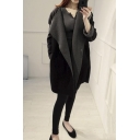 New Arrival Lapel Plain Tunic Coat with Hidden Buttons